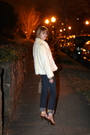 White-vintage-jacket-blue-j-brand-jeans-brown-report-signature-shoes-purpl
