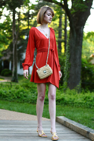 mini dress asos dress - rafia banana republic bag - kitten heel Alexander McQuee