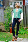 Chartreuse-vintage-vest-navy-h-m-jeans-burnt-orange-bally-bag-tawny-dolce-