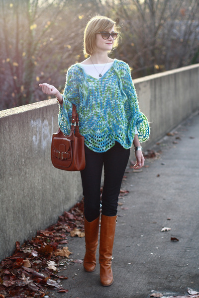 aquamarine poncho vintage sweater - tawny knee-high boots Michael Kors boots