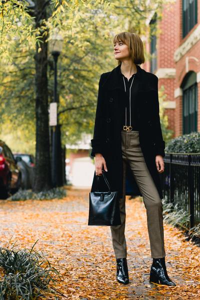 black patent leather Mango boots - black winter coat Marc New York coat