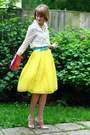 Yellow-pleated-romwe-skirt-hot-pink-cluch-asos-bag
