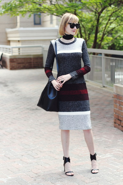 black skinny asos scarf - gray striped Mango dress
