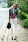 White-skinny-jeans-mango-jeans-black-studded-bag-kmrii-bag