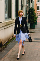 black tailored Zara blazer - sky blue striped Genuine People dress