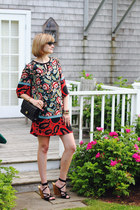 red floral print Mango dress - black quilted Chanel bag
