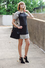 Heather-gray-t-shirt-dress-loft-dress-black-bucket-bag-mansur-gavriel-bag