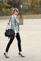 black shoulder bag Saddleback Leather bag - silver sparkly Zara blazer