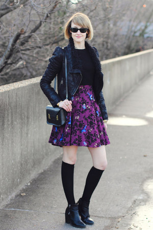 black ankle boots H&M boots - magenta floral print Oasis dress