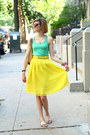 Brown-cat-eye-random-boutique-sunglasses-yellow-pleated-romwe-skirt