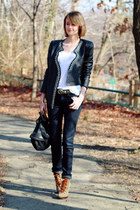 navy skinny H&M jeans - army green lace-up booties tory burch boots