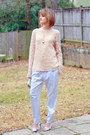 Light-pink-vintage-sweater-neutral-origami-karen-millen-heels-sky-blue-pajam