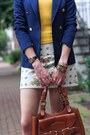 Navy-double-breasted-zara-blazer-brown-saddlebag-bally-bag