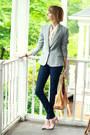 Navy-skinny-jeans-h-m-jeans-silver-sparkly-zara-blazer