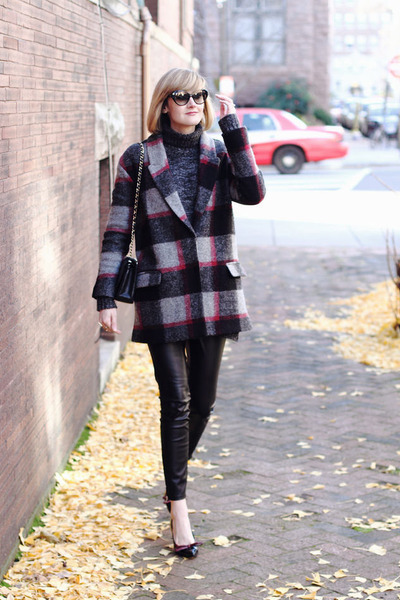 heather gray plaid Bel Air coat - gray turtleneck Zara sweater