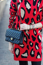 Ruby-red-leopard-print-dkny-dress-black-quilted-chanel-bag