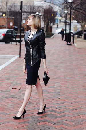 black leather surface to air jacket - navy pencil skirt Zara skirt