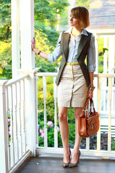 button-down Brooks Brothers shirt - saddle Bally bag - laser-cut PROENZA SCHOULE