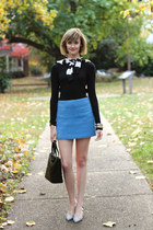 black long sleeve Target top - blue mini fuzzy Topshop shirt