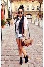 Brown-topshop-bag-white-cubus-shirt-periwinkle-new-yorker-shorts