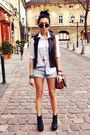White-cubus-shirt-brown-topshop-bag-periwinkle-new-yorker-shorts