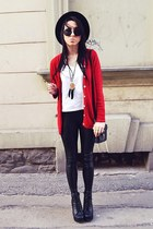 ruby red second hand cardigan - black H&M hat - black H&M leggings