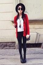 ruby red second hand cardigan - black H&M hat - black H&M leggings