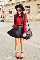 ruby red Stradivarius shirt - black Stradivarius skirt
