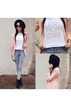 brashycouturecom t-shirt - H&M hat - Bershka tights - Secondhand pants