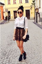 dark brown wwwoasapcom skirt - white Cubus shirt