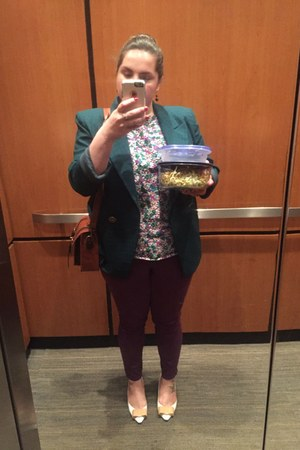 dark green blazer - purple rock star cut Old Navy jeans