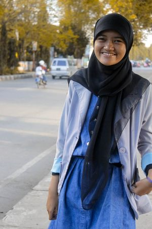 purple blazer - black belt - blue blouse