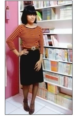 Zara shirt - skirt - linea pelle shoes - - Metro stockings - belt