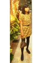 Batik dress - tights - Marie Claire shoes - purse