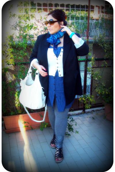 black BonPrix blazer - blue Kiabi dress - white Forever21 sweater
