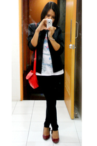 Esprit blazer - a&f shirt - tights - SM accessories - shoes