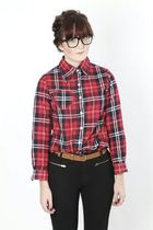 red Dixi blouse - black Dixi glasses