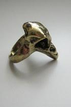 bronze bird skull ring ring
