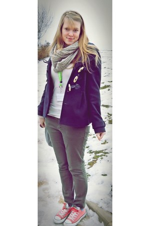army green new look jeans - navy new look coat - beige Accessorize scarf