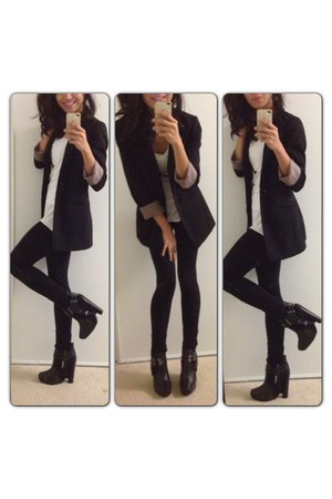 black sam edelman boots - black H&amp;M blazer - white Armani Exchange t-shirt