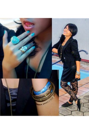 black lace leggings - black blazer - black oxford flats - black leather top - tu