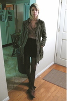 green Forever 21 jacket - black vintage skirt - brown vintage blouse - black Ame