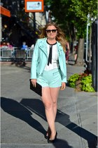 Zara jacket - Steve Madden bag - Zara shorts - Jacob blouse - Zara wedges