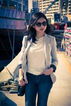 Zara jeans - silver Zara blazer - off white unbranded shirt - Milano bag