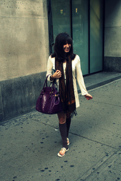 beige Urban Outfitters dress - brown Parisian Boutique scarf - purple mandees ba