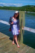 blue H&M dress - gold American Eagle shoes - blue Zara belt - gray H&M jacket -