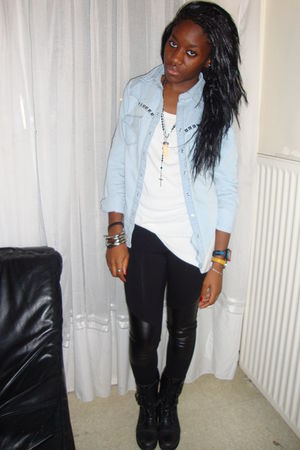 blue Naf Naf shirt - white top - black leggings - black Newlook boots
