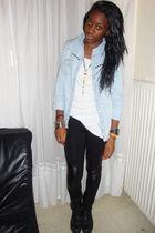 blue Naf Naf shirt - white top - black leggings - black Newlook boots