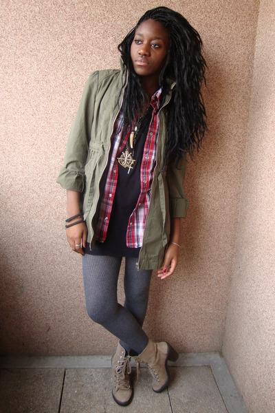 black American Apparel shirt - red Newlook shirt - coat - silver leggings - brow