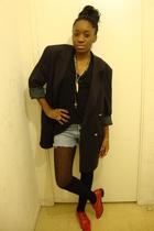 black vintage blazer - black American Apparel - blue Levis - black H&M - black H